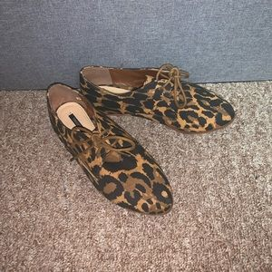 F21 Leopard Print Oxford Loafers Size 8